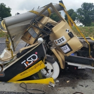 Successful crash-test of M50 high security road blocker, Munster, Germany
