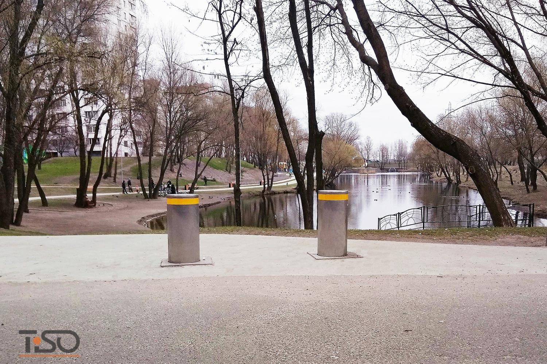 Verkehr halbautomatische Poller, Kiew, Ukraine